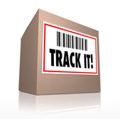 Track It Words Package Tracking Shipment Logistics — Stock Photo