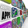 addicted to apps words mobile software tile display — Stock Photo