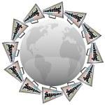 Marketing Bullhorn Megaphones Branding Advertising Around World — Stock Photo