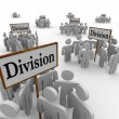 Foto Stock: Division Signs Teams People Workers Divided Departments