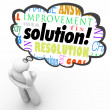 Stockfoto: Solution Word Thinker Thought Bubble Problem Solved