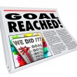 Stock Photo: Goal Reached Newspaper Headline Article 100 Percent Success