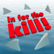 In for the Kill Sharks Circling Dangerous Aggression — Zdjęcie stockowe