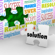 Stock Photo: Solution Puzzle Piece Wall Problem Challenge Solved