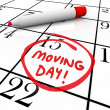 Moving Day Circled Calendar Important Date Reminder — Foto de Stock