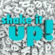 Shake it Up Words Letter Background Reorganization New Idea — Lizenzfreies Foto