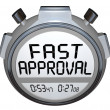 Fast Approval Words Stopwatch Timer Approved Loan Mortgage Credi — Stock Photo