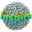 Inspire Word 3D Letter Sphere Ball Motivational Education — Stock Photo