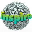 Inspire Word 3D Letter Sphere Ball Motivational Education — Stock fotografie