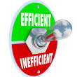 Efficient Vs Inefficient Toggle Switch Better Competitive Advant — ストック写真