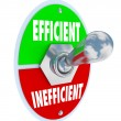 Efficient Vs Inefficient Toggle Switch Better Competitive Advant — Stock Photo