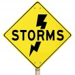 Stock Photo: Storms Yellow Warning Sign Lightning Dangerous Forecast