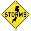 Storms Yellow Warning Sign Lightning Dangerous Forecast — Zdjęcie stockowe #29761411