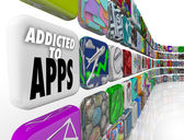 Addicted to Apps Words Mobile Software Tile Display — Foto de Stock