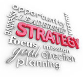 Strategy Word Collage Planning Goal MIssion — Stock Photo