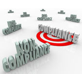 Compliance Vs Non Compliant Words Targeting Goal — Stock Photo