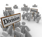 Division Signs Teams People Workers Divided Departments — Stock Photo