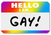 Ad etiketi merhaba ben ibne homoseksüel ortaya çıkıyor — Stok fotoğraf