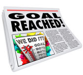Goal Reached Newspaper Headline Article 100 Percent Success — Stock Photo