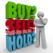 Buy Sell Hold 3D Words Investor Stock Market — Stock Photo