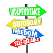Independence Road Sign Arrows Autonomy Freedom Self-Reliance — Stock Photo