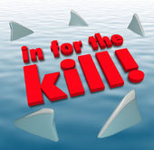 In for the Kill Sharks Circling Dangerous Aggression — Foto de Stock