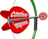 Continuous Improvement Bow Arrow Constant Better Progress — Stock Photo