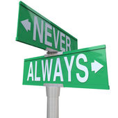 Always Vs Never 2 Two Way Street Road Signs — Stock Photo