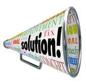 Lösning megafon megafon sprider sig svaret på problem — Stockfoto