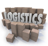Logistics Word Shipping Boxes Warehouse Efficiency — Stock Photo