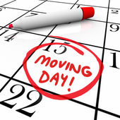 Moving Day Circled Calendar Important Date Reminder — Stock Photo