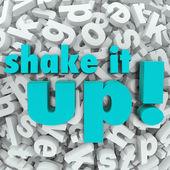 Shake it Up Words Letter Background Reorganization New Idea — Stock Photo