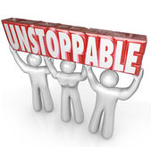 Unstoppable Team Lifting Word No Limits Determination — Stock Photo