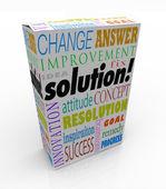 Off hyllan lösningen produkten rutan ny idé svaret — Stockfoto