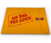 Yellow Envelope Air Mail Par Avion Stamp Express Service — Stock Photo
