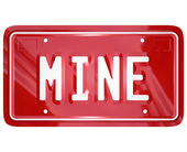 Mine Word Red Vanity License Plate Auto Car — 图库照片