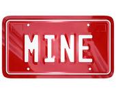 Mine mot vanité rouge plaque d'immatriculation auto voiture — Photo