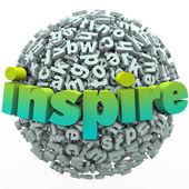 Inspire Word 3D Letter Sphere Ball Motivational Education — Stock Photo
