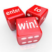 Enter To Win 3 Red Dice Contest Winning Entry — Stock Photo