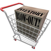 Inventory Blowout Words Cardboard Box Shopping Cart Blow-Out — Stock Photo