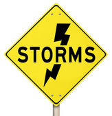 Storms Yellow Warning Sign Lightning Dangerous Forecast — Stock Photo
