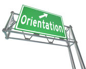 Orientation Green Freeway Sign New Recruit Student Employee — Zdjęcie stockowe