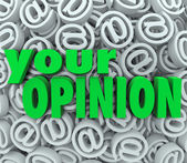 Your Opinion 3D At Email Symbol Background Feedback — Stock Photo