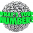 Stock Photo: What's Your Number Question Sphere Credit Score Budget Limit