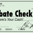 Rebate Check Words Check Money Back Offer Cash Refund — Stock Photo