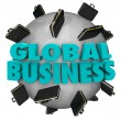 Global Business Words Briefcases Around World Expansion — ストック写真