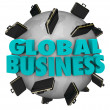 Stock Photo: Global Business Words Briefcases Around World Expansion