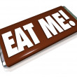 Stock Photo: Eat Me Candy Bar Wrapper Offensive Insult Phrase