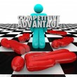 Stock Photo: Competitive Advantage People Winner Stands Alone