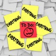 Sticky Notes To Do List Everything Overwhelming Tasks — Stock Photo
